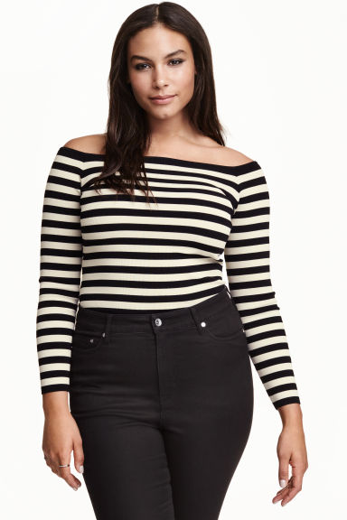 H&M+ Off-the-shoulder top - Light beige/Striped - Ladies | H&M GB 1