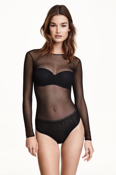 Long-sleeved mesh body - Black - Ladies | H&M CN 1