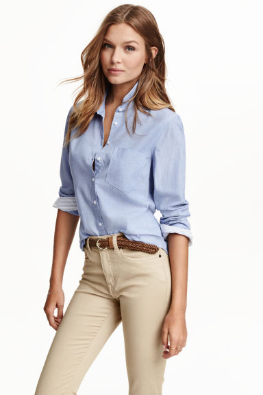 Fitted cotton shirt - Light blue - Ladies | H&M GB