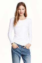 Long-sleeved jersey top - White - Ladies | H&M GB 5