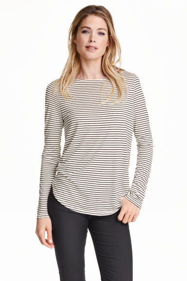 Long-sleeved jersey top - Natural white/Striped - Ladies | H&M GB 1