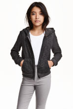 Hooded jacket - Black marl -  | H&M CN 1