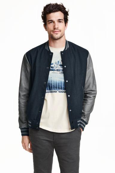 Baseball jacket - Dark blue - Men   H&M GB