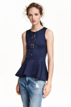 Sleeveless peplum top - Dark blue - Ladies | H&M CN 1