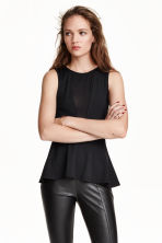 Sleeveless peplum top - Black - Ladies | H&M CN 1
