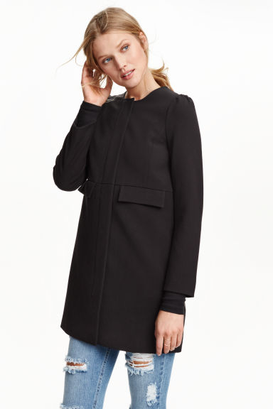 Coat with puff sleeves - Black - Ladies | H&M GB