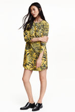 Long-sleeved dress - Yellow/Patterned - Ladies | H&M GB 1