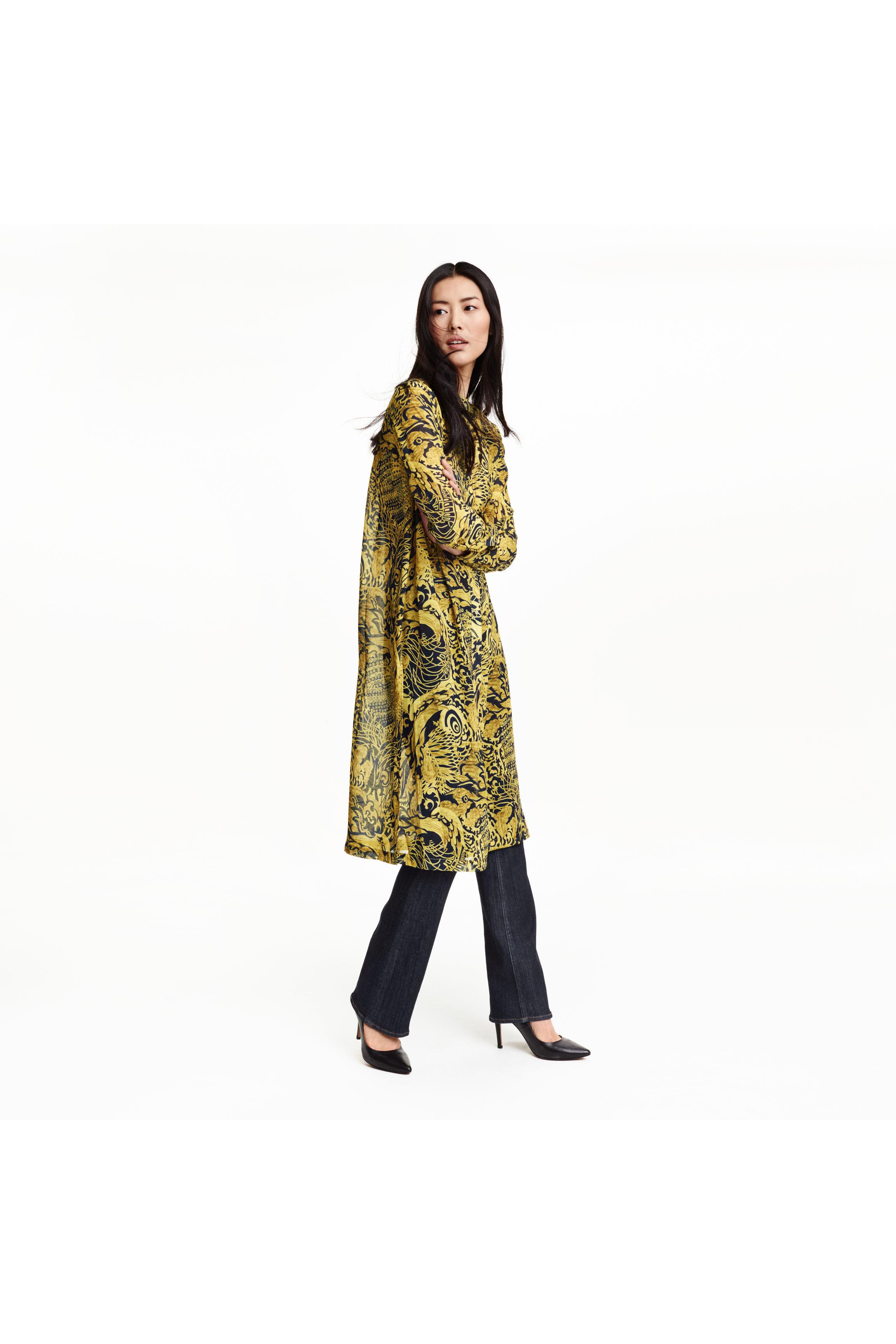 Long shirt dress - Yellow/Patterned - Ladies - H&amp-M GB