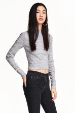 Short polo-neck top - Grey marl - Ladies | H&M CN 2