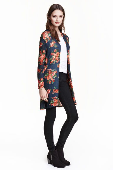 Fine-knit cardigan - Dark blue/Floral - Ladies | H&M GB 1