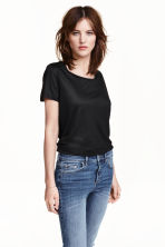 Short-sleeved top - Black - Ladies | H&M CN 1