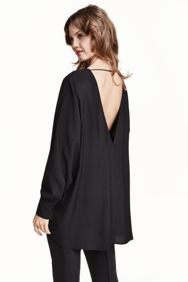 Wide blouse - Black - Ladies | H&M CN 1