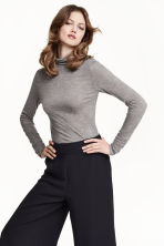 Lyocell polo-neck top - Grey marl - Ladies | H&M GB 1