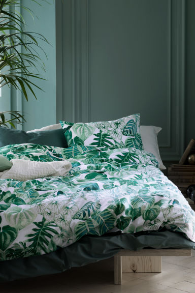 Leaf-patterned duvet cover set - Green - Home All | H&M GB 1