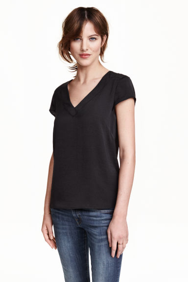 V-neck satin blouse - Black - Ladies | H&M CN 1