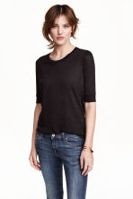 Jersey top with puff sleeves - Black - Ladies | H&M CN 1