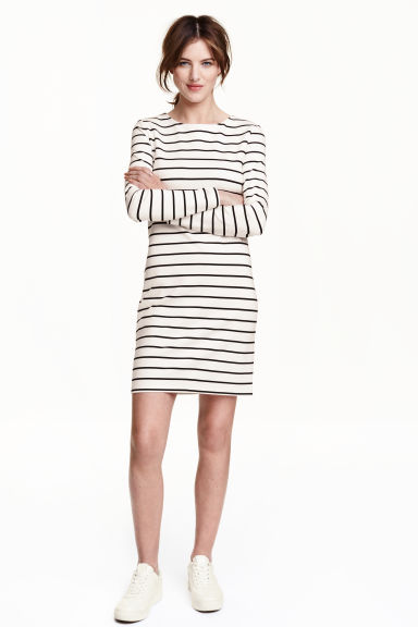 Jersey dress - White/Striped - Ladies | H&M CN 1