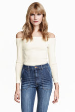 Ribbed off-the-shoulder top - White - Ladies | H&M CN 1
