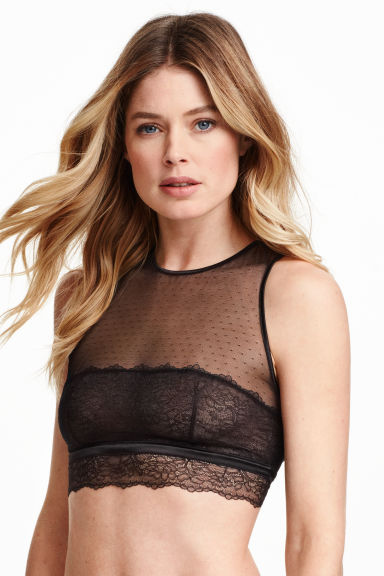 Non-wired lace bra top - Black - Ladies | H&M GB 1