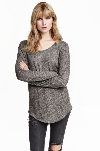 Top lungo in lino - Grigio scuro mélange - DONNA | H&M IT 1