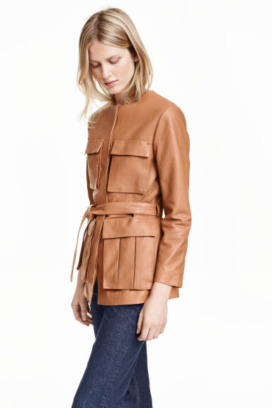 Leather jacket with a tie belt - Beige - Ladies | H&M GB 1