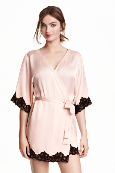 Satin kimono - Light pink - Ladies | H&M GB 1
