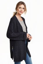 Cardigan in a cotton blend - Black marl -  | H&M CN 1