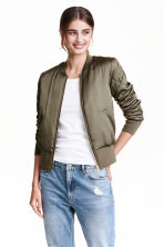 Short satin bomber jacket - Khaki green - Ladies | H&M GB 1