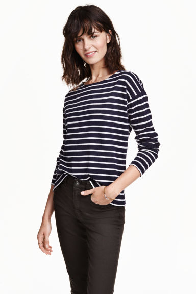 Striped jersey top - Dark blue/Striped - Ladies | H&M GB 1