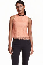 Sleeveless lace blouse - Apricot - Ladies | H&M CN 1
