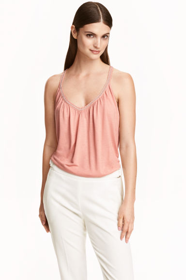 Beaded strappy top - Light pink - Ladies | H&M CN 1