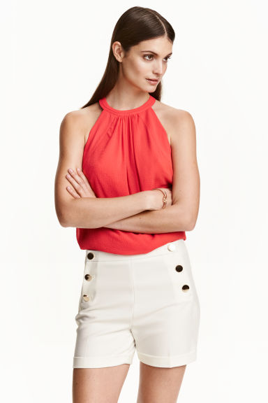 Sleeveless chiffon top - Coral red - Ladies | H&M CN 1