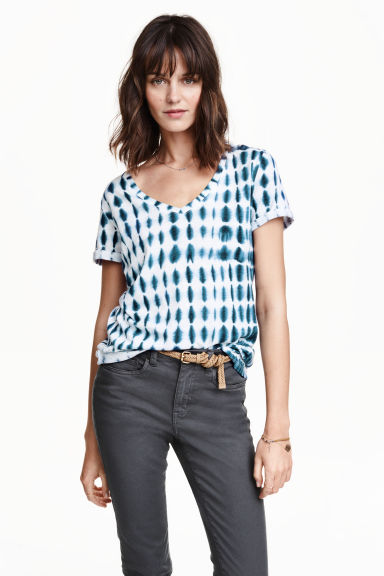 Top in jersey fantasia - Blu scuro/bianco - DONNA | H&M IT 1