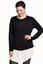 H&M+ Fine-knit jumper - Black/White - Ladies | H&M GB 1