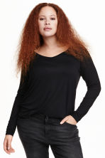 H&M+ Long-sleeved jersey top - Black - Ladies | H&M CN 1