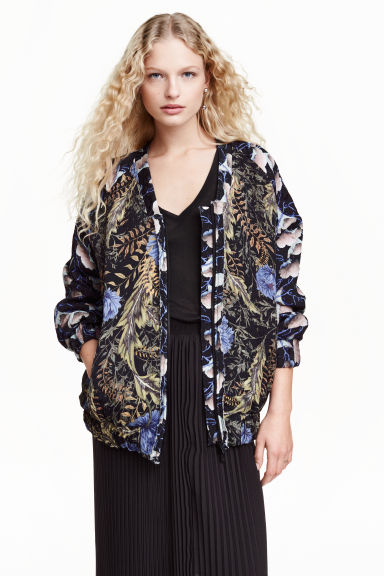 Jacquard-weave bomber jacket - Black/Floral - Ladies | H&M GB