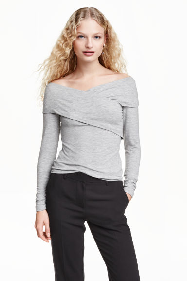 Off-the-shoulder top - Light grey marl - Ladies | H&M CN 1
