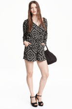 V-neck playsuit - Black/White/Patterned - Ladies | H&M CN 1
