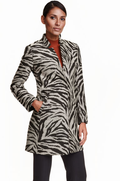 Patterned coat - Black/White - Ladies | H&M CN 1