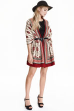 Jacquard-knit cardigan - Light beige/Red - Ladies | H&M CN 1