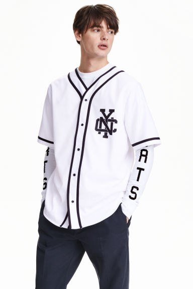 Baseball shirt - White - Men | H&M GB 1