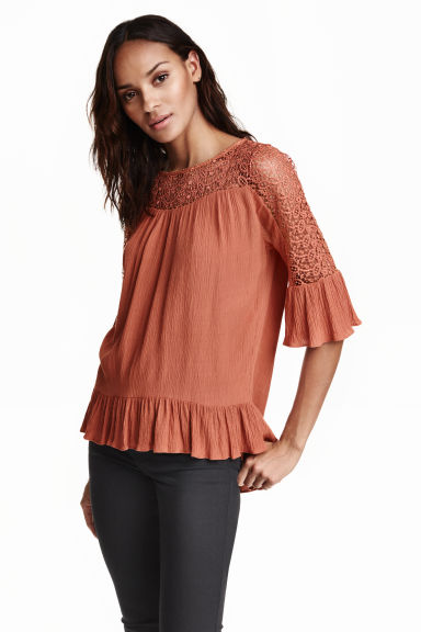 Blouse with lace details - Rust - Ladies | H&M CN 1