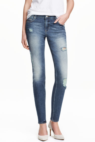 Slim Regular Trashed Jeans - 牛仔蓝 - 女士 | H&M CN 1