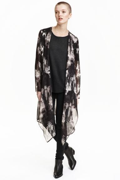 Chiffon cardigan - Dark grey/Patterned - Ladies | H&M GB