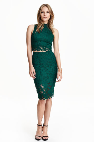 Lace pencil skirt - Dark green - Ladies | H&M GB