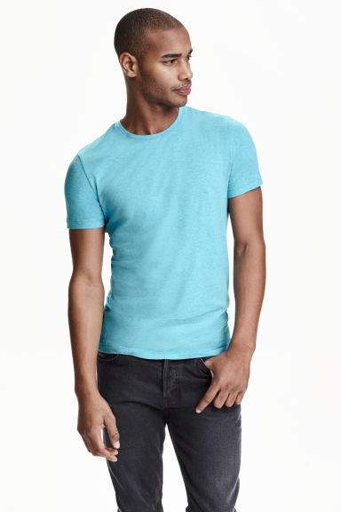 Round-neck T-shirt Slim fit - Turquoise marl - Men | H&M CN 1