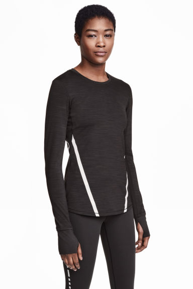 Long-sleeved running top - Black marl - Ladies | H&M CN 1