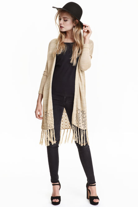 Fringed knitted cardigan