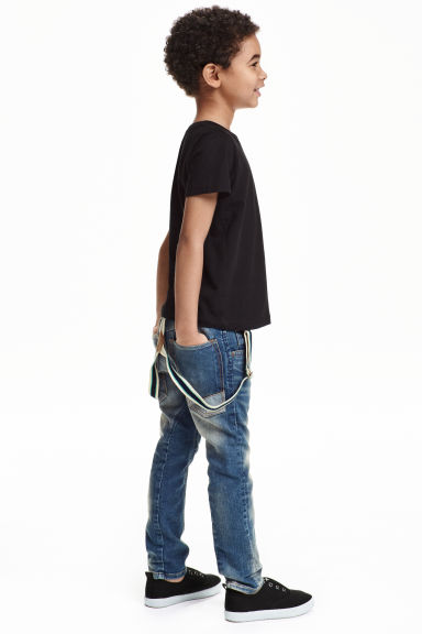 Tapered Jeans with braces - Denim blue - Kids | H&M CN 1