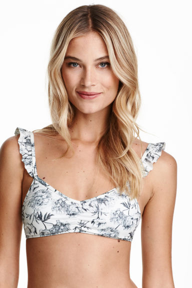 Patterned bikini top - White/Floral - Ladies | H&M CN 1